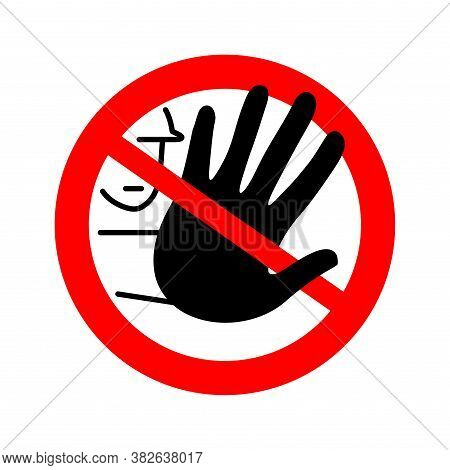 No Entry Restricted Or Maintenance Area Forbidden Sign - Crossed Out Human Hand - Isolated Vector Pr