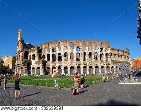 Rome / Italy - 15 Jul 2011: The Ancient Colosseum In Rome, Italy