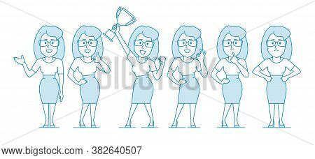 Woman Office Worker In Various Poses. Character - Woman With Glasses And A Skirt To The Knees. Illus