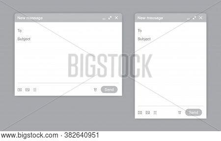 Blank Window Of E-mail Window White Template. Sample Frame Design Mail Message Interface Blank Mocku