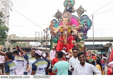 Mumbai, Maharashtra/india June 14 2020- Decorated Idol Of Lord Ganesha With Black Background. Lalbau