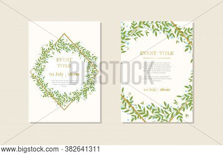 Set Of Card With Leaves. Wedding Ornament Concept. Floral Poster, Invite. Vector Decorative Greeting