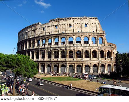 Rome / Italy - 21 Jul 2011: The Ancient Colosseum In Rome, Italy