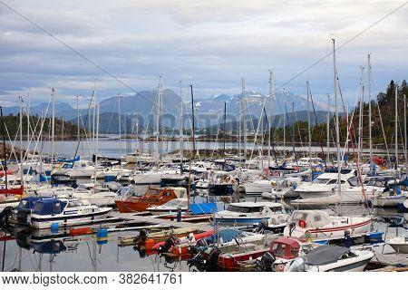 Alesund, Norway - July 27, 2020: Norvevika Yacht Harbor In Alesund City. Alesund Is The Largest Town