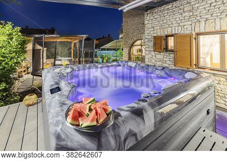 Modern Massage Pool Outdoor And Fresh Drink And Fruit, Night Shoot