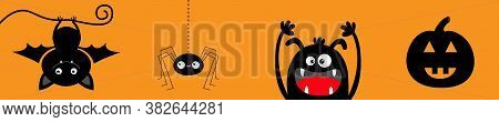 Happy Halloween Banner. Monster Hanging Bat, Spider, Pumpkin Set. Funny Head Face. Insect On Dash Li