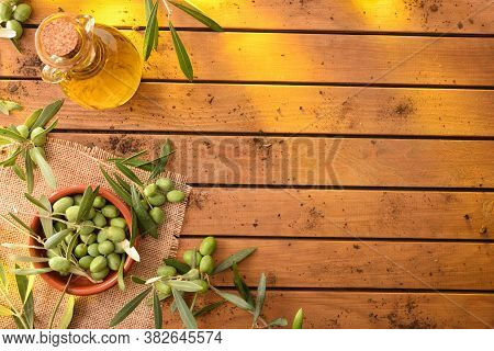 Olive Branches Filled With Olives On Wooden Table With Oil Container And Clay Container. Olive Harve