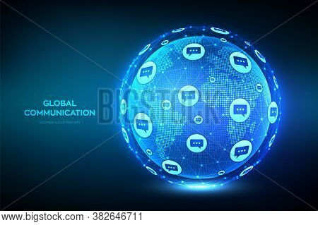 Global Communication Concept. World Map Point And Line Composition. Planet Earth Globe With Dialog S