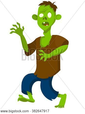 Zombie In Intimidating Pose. Halloween Character In Cartoon Style.