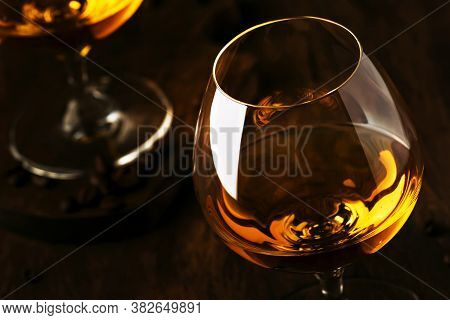 Armagnac, French Grape Brandy, Strong Alcoholic Drink. Still Life In Vintage Style, Selective Focus
