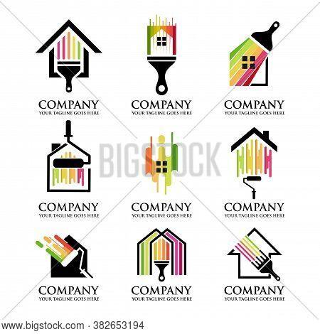 Set Of Colorful Paint House Logo Design Vector, House Paint Logo Design Concept Vector, Home House P