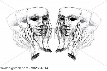 Mask In Hands.theater. Hypocrite, Pretender, Trickster, Many Faces. Black And White. Carnival Mask,