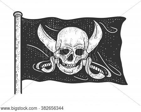 Jolly Roger Blackjack Pirate Flag Sketch Engraving Vector Illustration. T-shirt Apparel Print Design