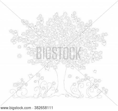 Outline Drawing Tree With Heart Symbols And Flowers On The White Background. Monochrome Illustration
