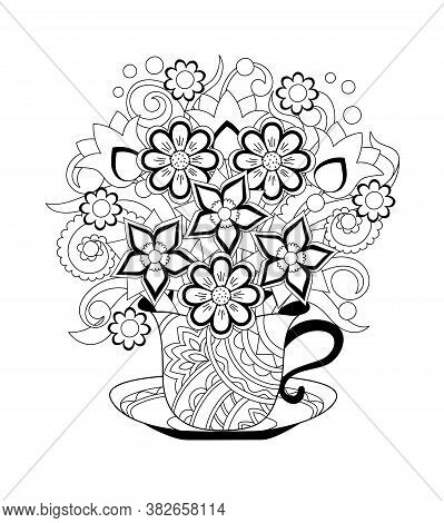 Ornamental Cup With Hand Drawn Floral  Bouquet. Monochrome Contour Illustration For Greeting, Invita