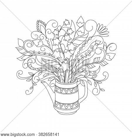 White Teapot With Ornamental Lines And Hand Drawn Doodle Floral Bouquet. Monochrome Contour Illustra
