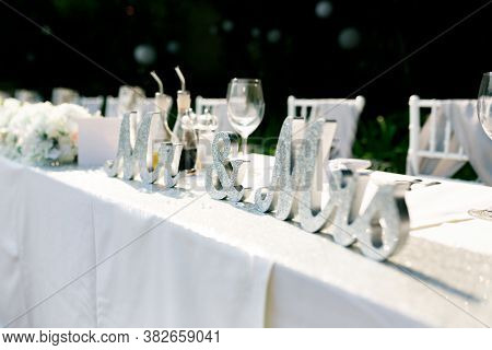 Wedding Table Decoration - Silver Glitter Letters Mr And Mrs