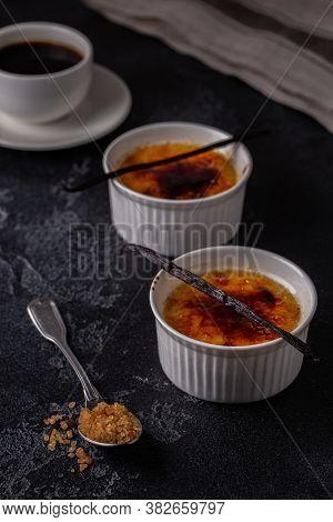 Creme Brulee. French Vanilla Cream Dessert With Caramelised Sugar.