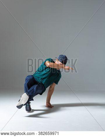 Cool Guy Breakdancer Dancing Lower Break Dance Isolated On Gray Background. Breakdance Poster