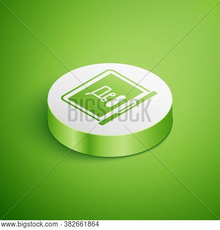 Isometric Shopping Cart On Screen Laptop Icon Isolated On Green Background. Concept E-commerce, E-bu
