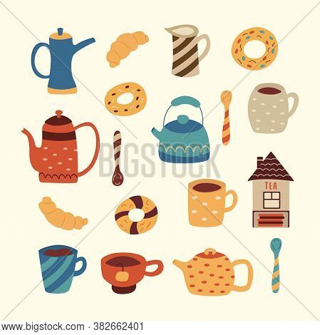 Set Of Tea Ware. Cute Teapots And Mugs, Donuts And Croissants. Teaspoons, A Jug For Cream Or Milk, A