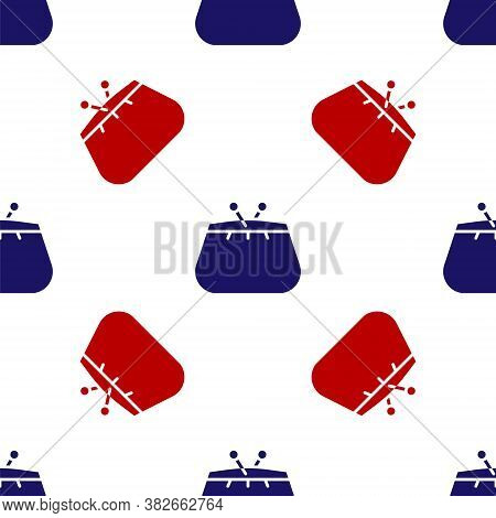Blue And Red Wallet Icon Isolated Seamless Pattern On White Background. Purse Icon. Cash Savings Sym