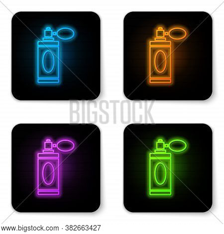 Glowing Neon Aftershave Bottle With Atomizer Icon Isolated On White Background. Cologne Spray Icon.