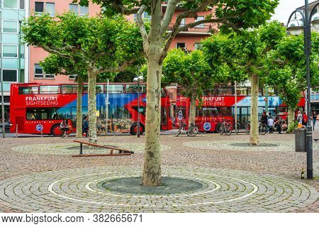 Frankfurt, Germany - June 12, 2019: sightseeing bus in Frankfurt city, Germany.