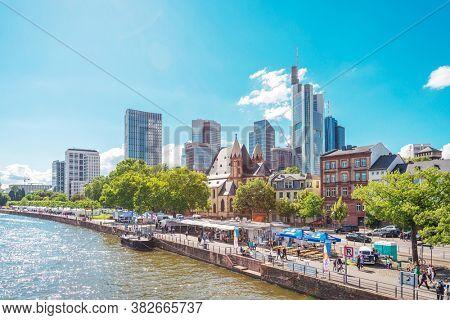 Frankfurt, Germany - June 12, 2019: River view of Frankfurt am Main, Germany