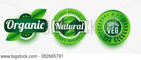 Organic Natural Veg Product Labels Set Vector Design Illustration