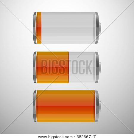 Glossy Battery Icons Set. Set Of Battery Charge Level Indicators. Vector Illustration.