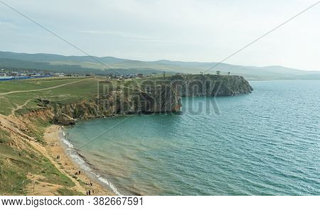 Beautiful Landscape Of Siberian Lake. Panoramic View Of Cape Burhan, Khuzhir Bay. Olkhon Island-hear