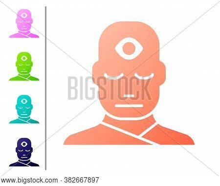 Coral Man With Third Eye Icon Isolated On White Background. The Concept Of Meditation, Vision Of Ene