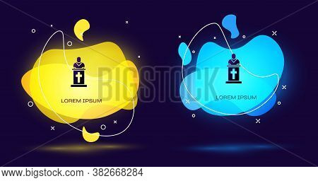 Black Church Pastor Preaching Icon Isolated On Black Background. Abstract Banner With Liquid Shapes.