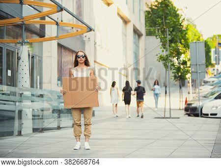 Dude With Sign - Woman Stands Protesting Things That Annoy Her. Solo Demonstration Her Right To Talk
