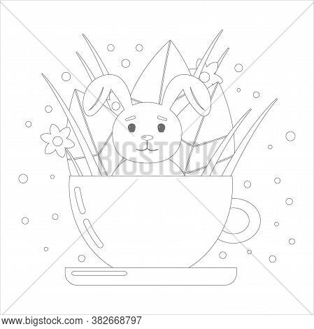 Coloring Book For Children. Cute Bunny In A Cup With Leaves And Flowers. Vector Linear Illustration