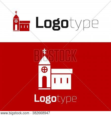 Red Church Building Icon Isolated On White Background. Christian Church. Religion Of Church. Logo De