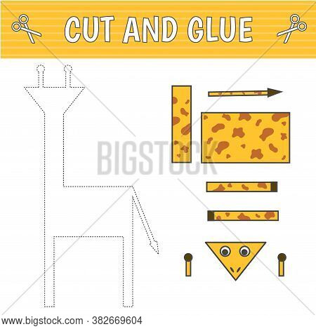 A Giraffe Of Geometric Shapes. Cut And Glue. Children's Game. Constructor, Application. Vector Illus