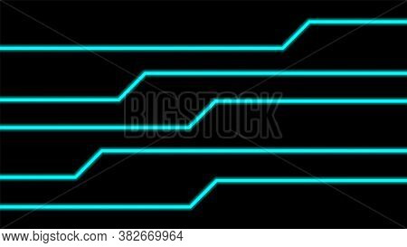 Line Light Blue Glow On Black For Background, Modern Art Line Glowing Blue Color For Technology Conc