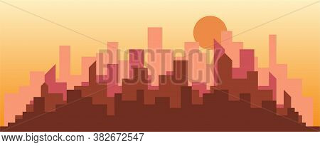 Abstract Futuristic City Sky Sunset With Modern Buildings Vector Wallpaper Background. Vector Illust