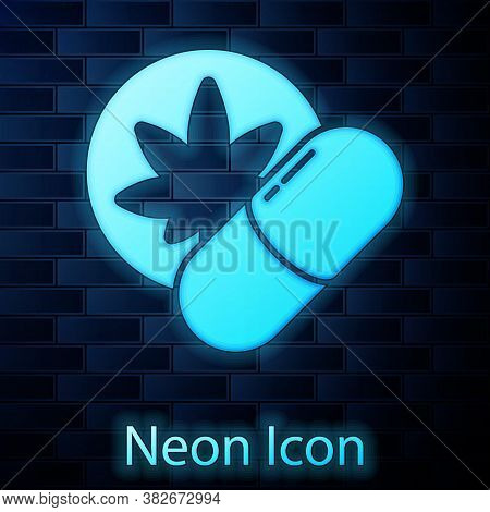 Glowing Neon Herbal Ecstasy Tablets Icon Isolated On Brick Wall Background. Vector Illustration