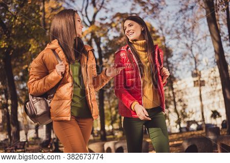 Portrait Of Two Nice-looking Attractive Lovely Friendly Cheerful Cheery Best Girlfriends Strolling I