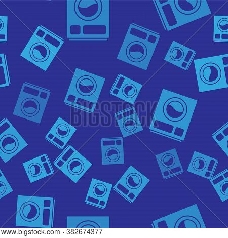 Blue Washer Icon Isolated Seamless Pattern On Blue Background. Washing Machine Icon. Clothes Washer