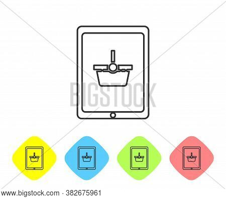 Grey Line Shopping Basket On Screen Tablet Icon Isolated On White Background. Concept E-commerce, E-