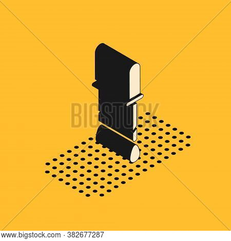 Isometric Pipette Icon Isolated On Yellow Background. Element Of Medical, Chemistry Lab Equipment. P