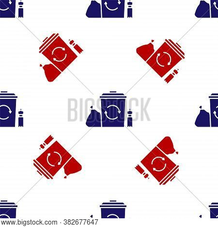 Blue And Red Recycle Bin With Recycle Symbol Icon Isolated Seamless Pattern On White Background. Tra