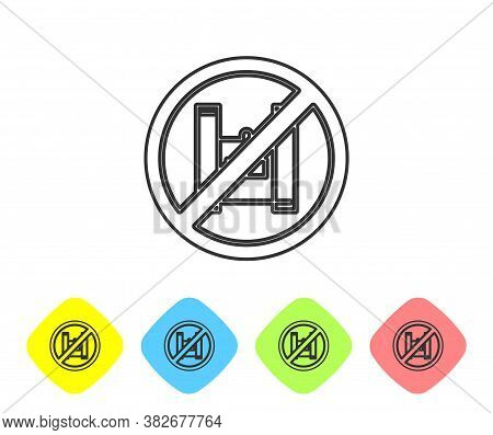 Grey Line Say No To Plastic Bags Poster Icon Isolated On White Background. Disposable Cellophane And