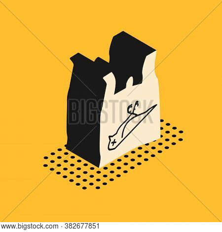 Isometric Dead Bird, Plastic Icon Isolated On Yellow Background. Element Of Pollution Problems Sign.