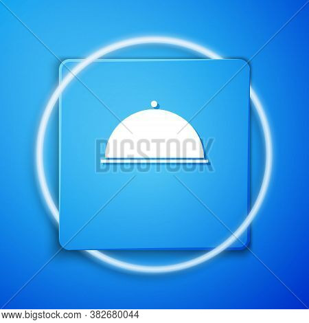White Covered With A Tray Of Food Icon Isolated On Blue Background. Tray And Lid. Restaurant Cloche