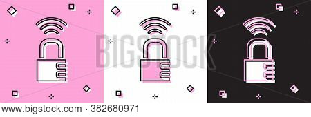 Set Smart Safe Combination Lock Icon Isolated On Pink And White, Black Background. Combination Padlo